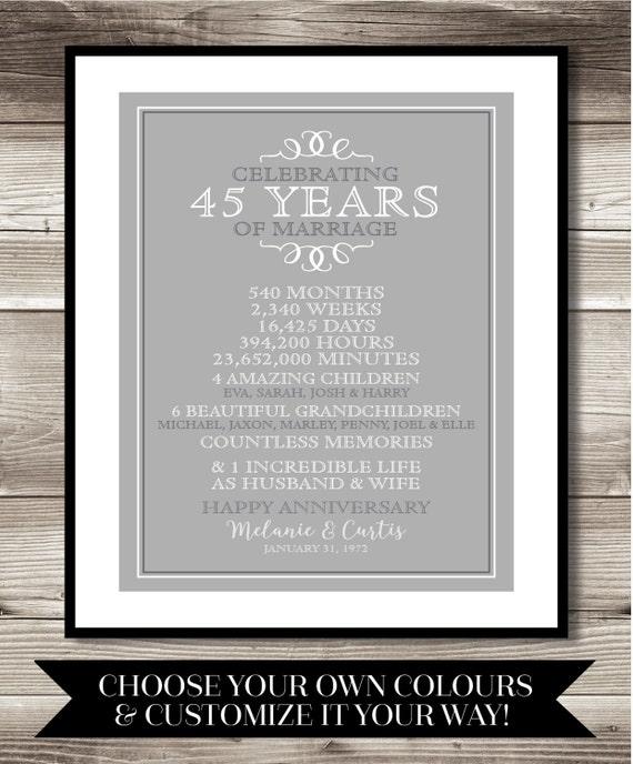 60 Years Wedding Anniversary Gifts: 45 Year Anniversary Digital Print Gift 45th Anniversary
