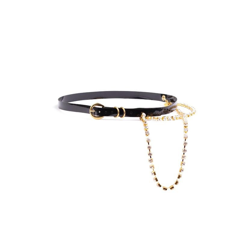 Pvc gold rhinestone chain belt
