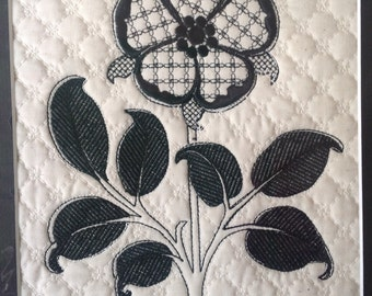 Embroidered panel, machine embroidery,