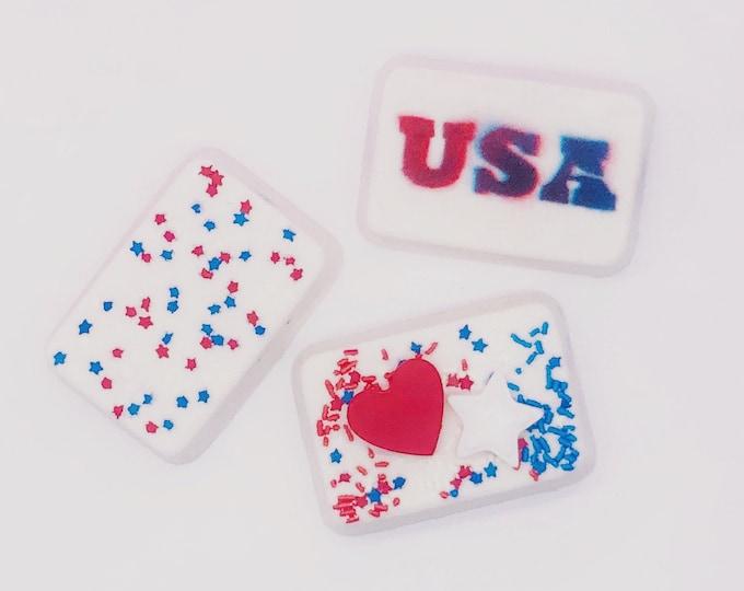 Patriotic bath bomb set 3 pack, surprise patriotic color display in water