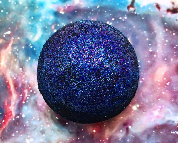 Black Galaxy Bath Bomb - Lavender, Ylang-Ylang, & Tonka Bean - black bath with holo glitter