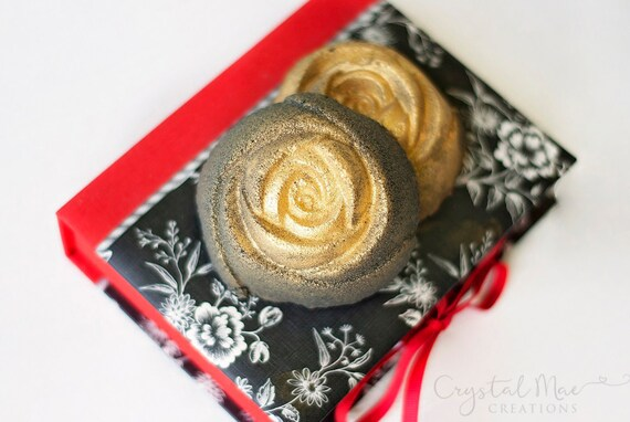 Black + Gold Rose Bath Bomb - Gold Shimmer - Lavender, Chamomile, & Sweet Orange Essential Oils