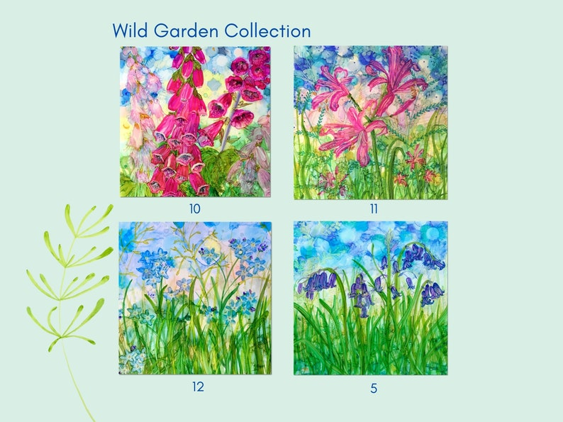 Bundle of 4 square blank cards greetings card choose from across all 29 of Millie Moth/'s designs colourful alcohol ink flower paintings