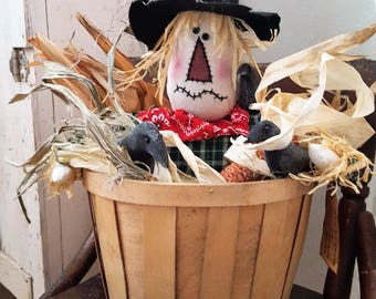 Raggedy and worn - basket with crows, scarecrow and corncobs shelf sitter