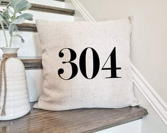 Apartment Number Custom Zipcode Pillow 5 Digit Housewarming New Farmhouse Pillow Street Address Decor Custom House Number Pillow
