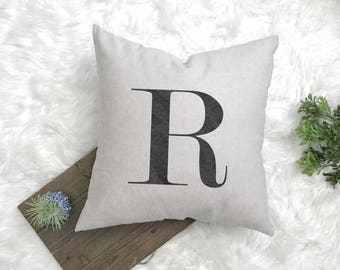 Letter Pillow - Monogrammed Pillow - Newlywed Gift - New Farmhouse Pillow - Rustic Bridal Gift - 1st Anniversary Linen - Rustic Nursery Gift