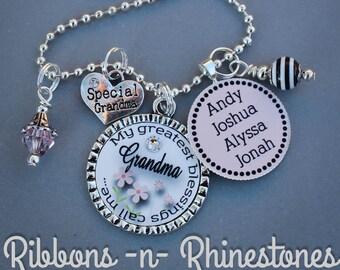 Customized pendant etsy personalized charm necklace customized grandma pendant grandma nana mom jewelry personalized grandma gift customized pendant name charm aloadofball Images