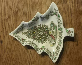 Vintage Johnson Bros. Christmas tree ceramic candy dish