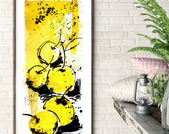 Yellow apples, watercolor painting, a bright combination of yellow and black color