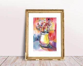 Poppy, flowers, still life, watercolor, gouache, painting, illustration