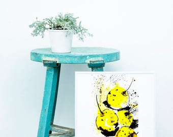 yellow apples print made from watercolor paintings perfect for interior decor and for decoration of clothes