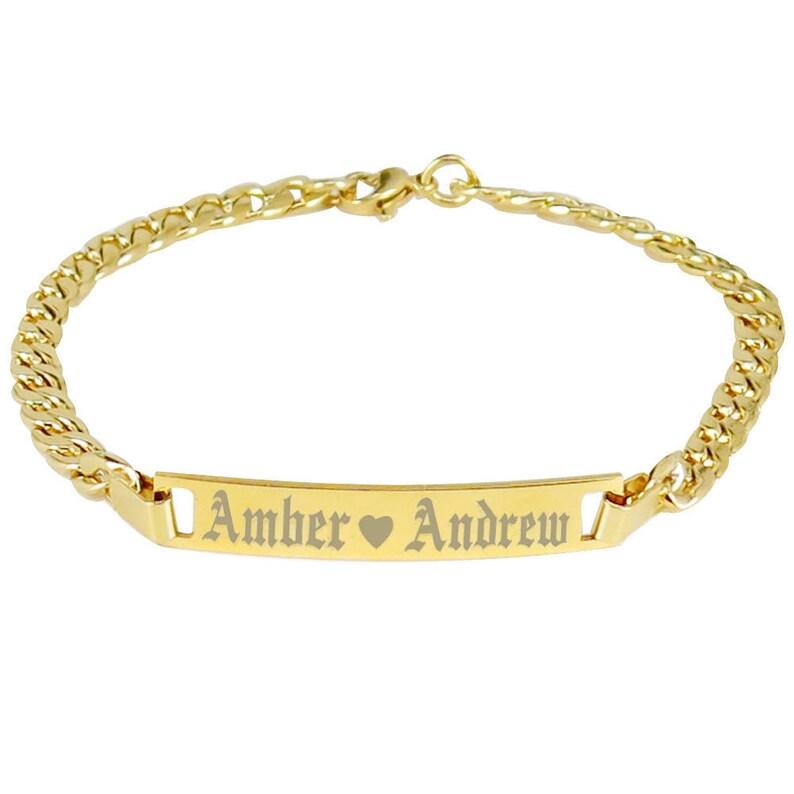 Fashion Jewelry 18K Gold Filled Personalized Children ID Bracelet Any Name Boy or Girl Bracelet Bracelets