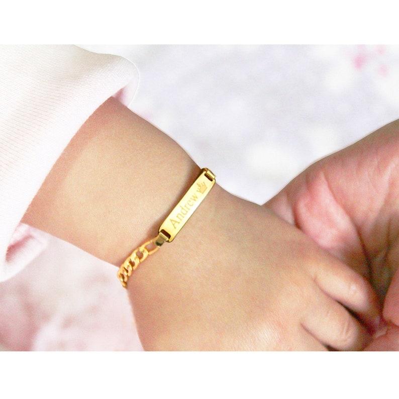 5387c549c0d7c Baby Bracelet Gold, Child ID Bracelet, Baby Bracelet Silver, Custom Name  Bracelet, Personalized Baby ID Bracelet With Any Name