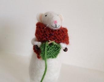 Mrs Pickelden felted mouse.