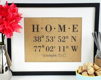 Housewarming Gift - New Home Housewarming Gifts - Our First Home - House Warming Gifts - Latitude Longitude Sign - Coordinates Signs - HOME