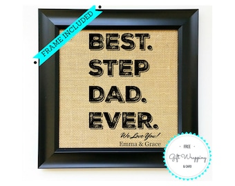 FRAME INCLUDED Step Dad Gift Stepdad Gifts For Stepfather Father Fathers Day Birthday Present From Daughter Daughters Son Sons Kids