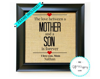 FRAME INCLUDED Mothers Day Gift Gifts For Mom Present Mommy From SON Child Kid Unique Idea Ideas Burlap Print Sign