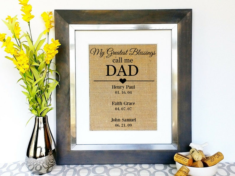 FATHERS DAY Gift For Dad Birthday Gifts New Daddy Greatest Blessings Child Childrens Names Burlap Sign Unique Idea Father Papa