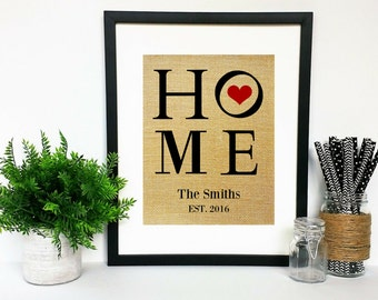 PRINT ONLY Modern Housewarming Gift Personalized House Warming Gifts New Home Welcome Presents Our First Home Family Name Sign Burlap Art