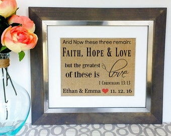 CORINTHIANS 13 Wedding Gift for Couples Engagement Gift Couple Burlap Print LOVE Bible Verse Bridal Shower Present Unique Anniversary Idea