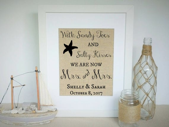 Lesbian Wedding Gift For Couple Women Gay Beach Theme Etsy