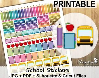 70% SALE, School, Printable Planner Stickers, Erin Condren Planner Stickers, EC Printable Stickers, School Stickers - Cut Files