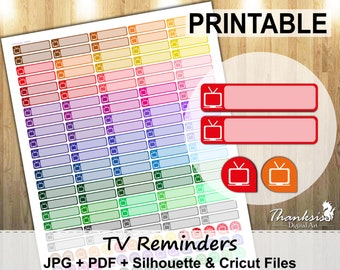 70% SALE, Tv Reminder Printable Planner Stickers, Erin Condren Planner Stickers, Tv Stickers, Tv Printable Stickers Reminder - Cut Files