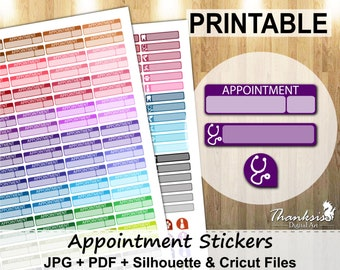 70% SALE, Appointment Printable Planner Stickers, Erin Condren Planner Stickers, Appointment Stickers, Printable Stickers - Cut Files