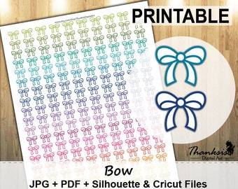 70% SALE, Bow Printable Planner Stickers, Erin Condren Planner Stickers, Bow Stickers, EC Printable Stickers, Bow, Cut Files
