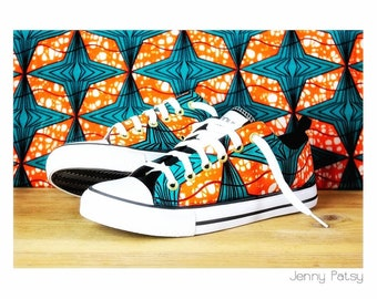 Low sneakers, custom with wax fabric, by hand, turquoise, pink, flower, leave, African print, Ankara, pagne, Africa, afropunk, Vegan
