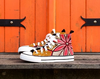 Custom sneakers with wax fabric, Julius, African print, pagne, Ankara, handmade, wax shoes, pink, turquoise, converse style,