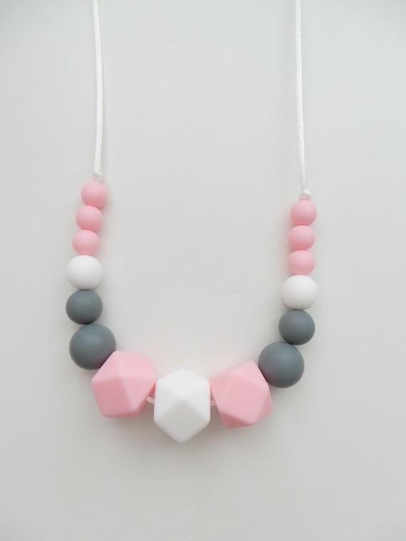 Silicone Teething Necklace Nursing Breastfeeding Sensory Baby Blue /& Grey