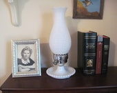 Hobnail White Milk Glass Lamp, vintage