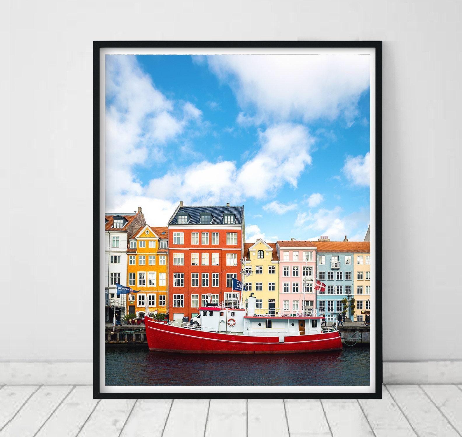 Copenhagen Nyhavn Landmark Print Hygge Scandinavian Art Canal Copenhagen City Art Pastel Print Denmark Photo Travel Poster