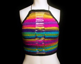 19dfebbd8a Jewel Toned Striped Crochet Top (Women s S M)    boho
