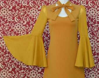 40c626fcf2 Bell sleeve dress. Bow tie dress. Vintage style dress. Retro dress. 60s  dress. 70s dress. Yellow Mustard dress.