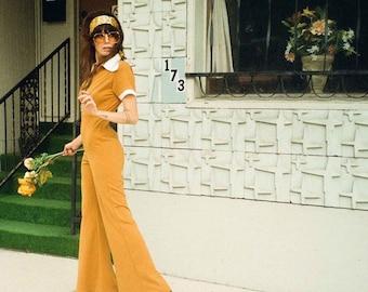 Mustard and cream jumpsuit. Color block jumpsuit. Vintage inspired jumpsuit. Statement beagle collar jumpsuit. Wide leg jumpsuit. 60s. 70s.