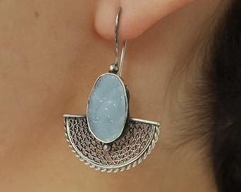 Chalcedony Druzy Earrings, Handmade Sterling Silver Chalcedony Druzy Earrings, Gemstone Earrings, Chalcedony Druzy, Filigree, druzy earrings