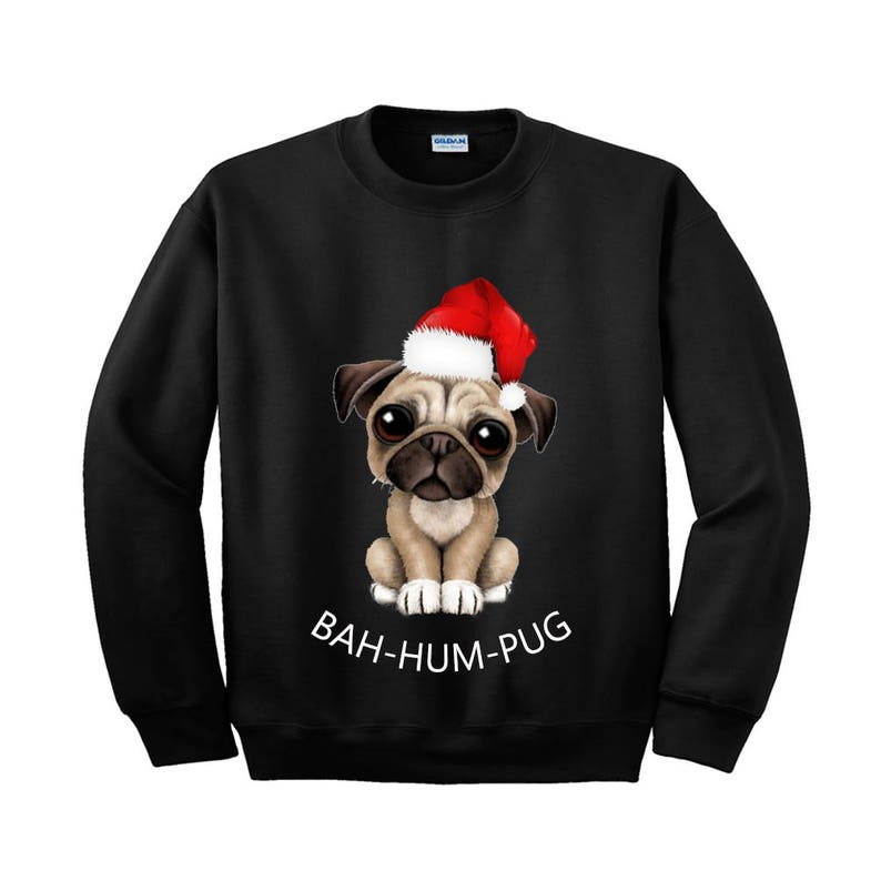 493f5e483dd8a BAH-HUM-PUG Sweatshirt color print christmas santa snow tree