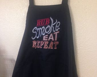 BBQ Apron, Embroidered Apron, Cook's Apron
