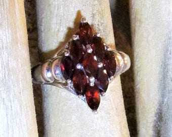 Gorgeous Vintage Garnet and Sterling Silver Ring, size 8