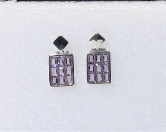 Vintage Channel Set Amethyst and Sterling Silver earrings