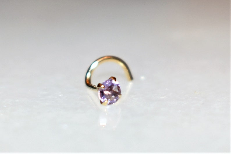 Natural Amethyst Gemstone 14kt Real Yellow Gold Nose Ring Jewelry