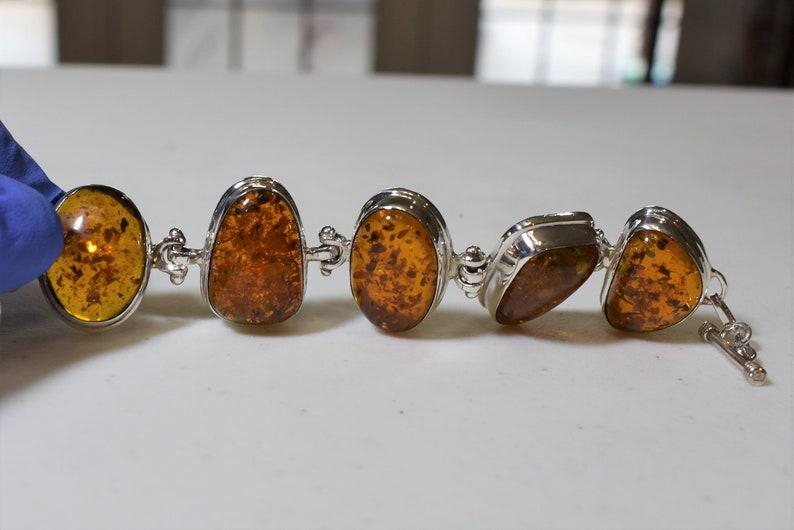 8.5-9 inch Gorgeous Vintage Amber and Hefty Silver Adjustable Bracelet