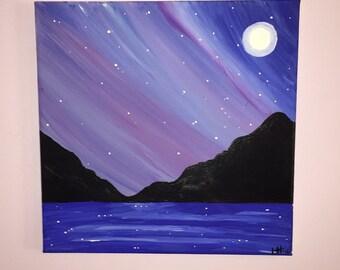Moon and Mountains | Water | Acrylic | Painting | Handmade | Decor | Stars | Night Scene