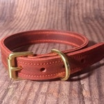 Robust Rugged Red Leather Dog Collar