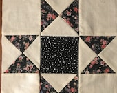 Star Black Pinks Quilt Block (Square) Finished 1 Block 10 1 2 quot Black Center with Star of Black and Pink Floral - Machine Pieced stitched