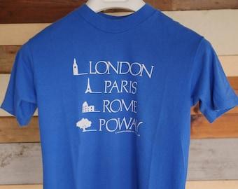 Vintage 1987 London Paris Rome Poway 50/50 Tee USA Made