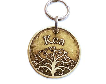 Dog Tag - Tree of Life in Brass
