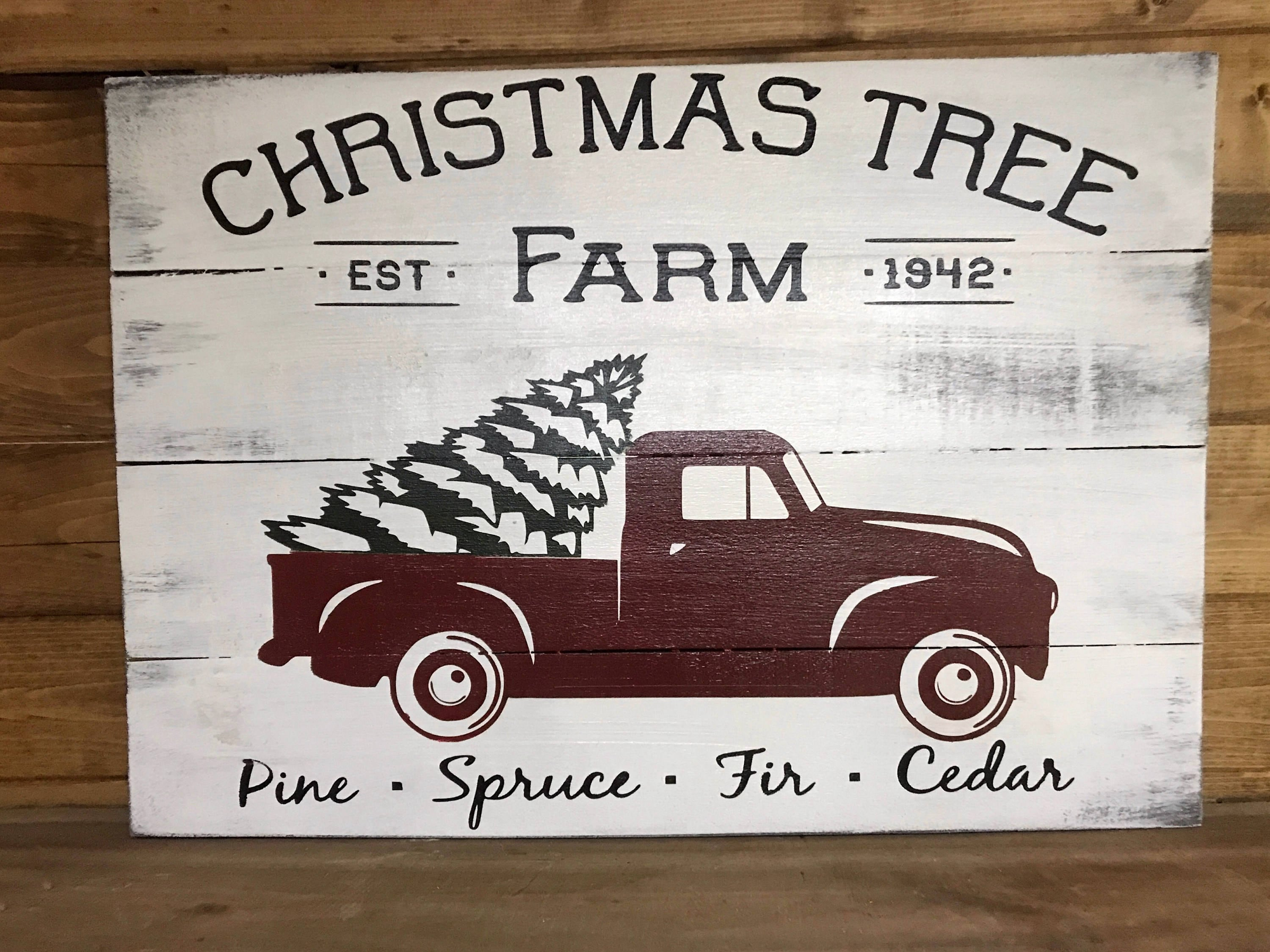 Red Truck Christmas sign rustic Christmas trees for sale | Etsy